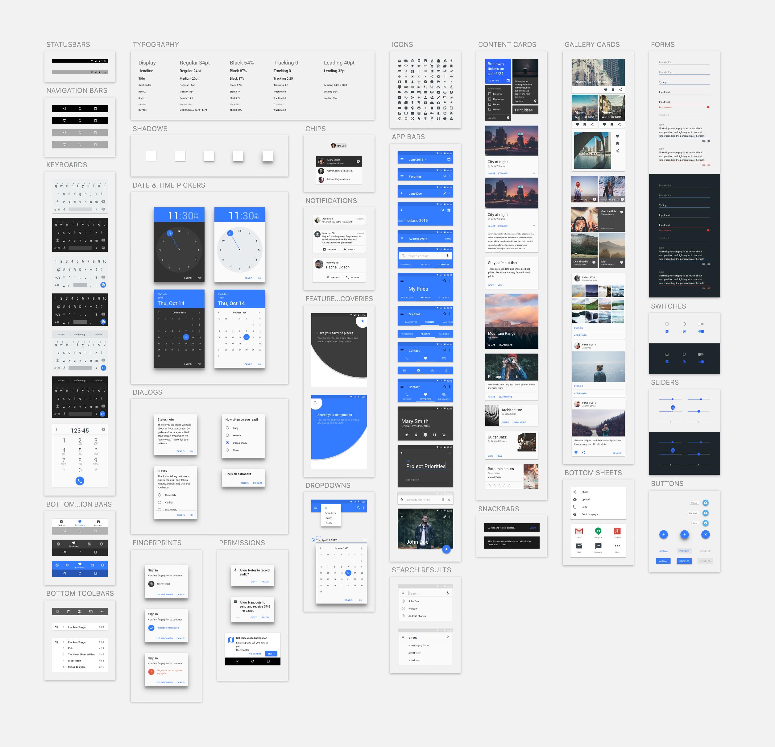 Materialdesignuikit pieces