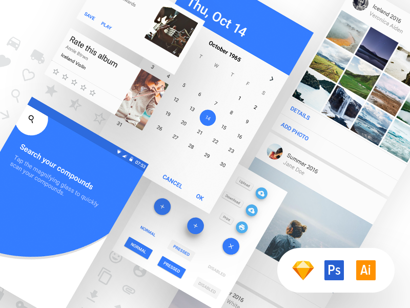 Material Design UI Kit [Free] by Adam Zielonko for UXPin