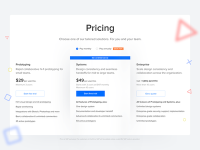 UXPin Pricing Page clean minimal uxpin shapes data price webdesign web ux ui table pricing