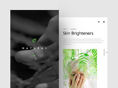 Natural Care health face cosmetics app ui ux web skincare mobile animation nature ios