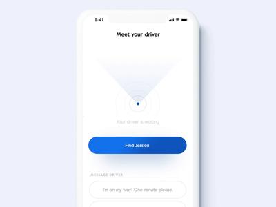 Find the driver (AR) ios mobile travel app ridesharing taxi car ar minimal animation ux ui