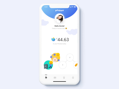 Pockee - an experience that adapts to all kids mobile app finance banking fintech family kids illustration animation minimal ux ui