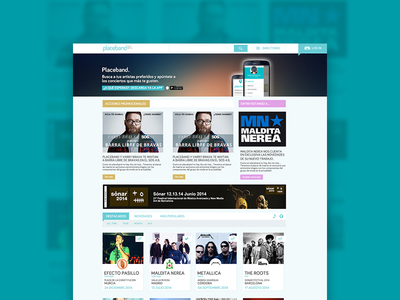 Rediseño Placeband.com homepage landing designer product web layout design freelance ux list ui music