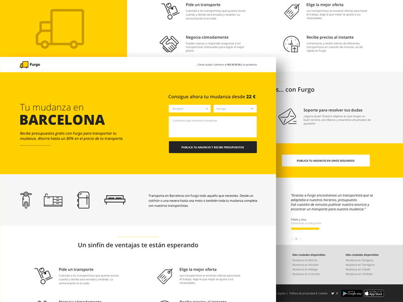 Landing page - Furgo.io startup yellow design freelance layout ux ui web transport furgo landing