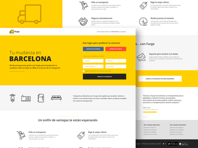Landing page - Furgo.io - Login startup yellow design freelance layout ux ui web transport furgo landing