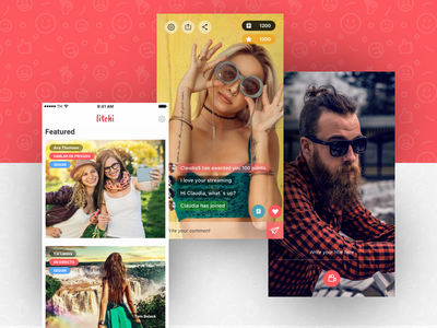 Litchi App - (2/2) streaming player video chat social ux ui ios app