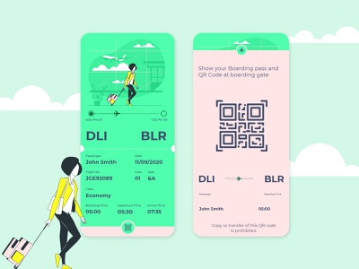 Daily Ui- 024 (Boarding Pass) design illustration dailyuichallenge