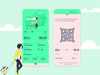 Daily Ui- 024 (Boarding Pass) design illustration dailyuichallenge