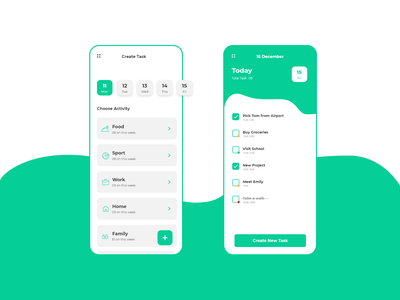 Daily UI- 042 (To-do List) task manager activities todolist bluegreen dailyui dailyuichallenge illustration