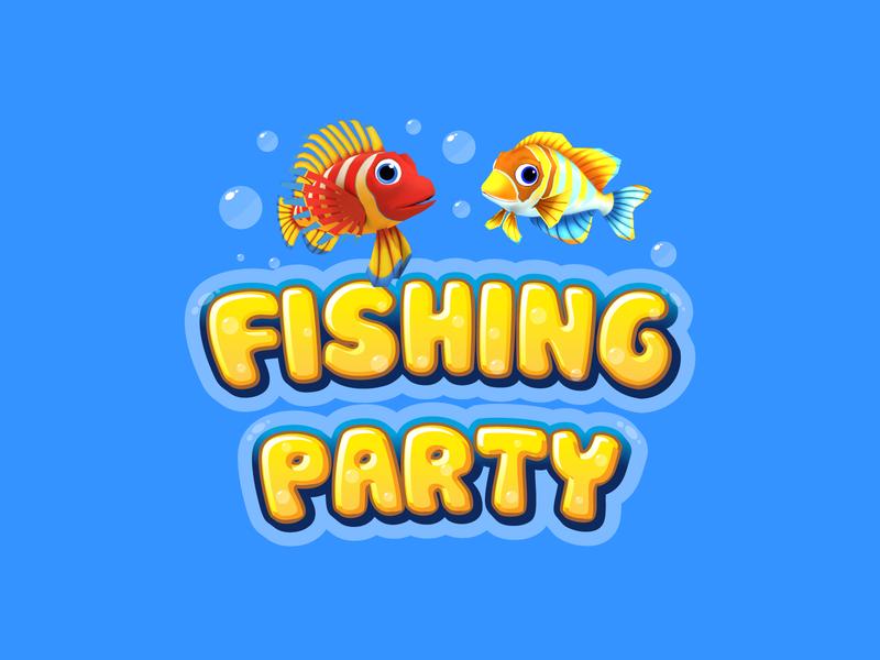 Fishing Party Logo typography logo illustration