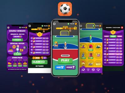 Goal Party Game UI-UX ball game ui game football soccer icon ux ui design vector logo illustration