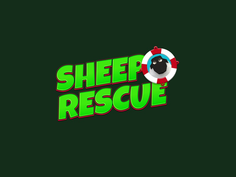 Sheep Rescue Game Logo lowpoly illustration game logo