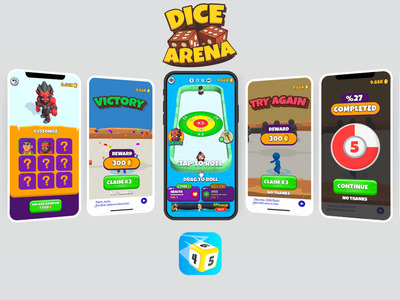 Dice Arena Game flat low poly icon ux ui design game vector logo illustration