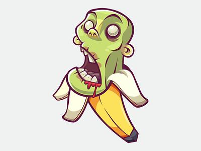 Banana Hallowens dribbbleweeklywarmup banana halloween vector illustration