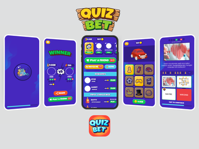 QuizBet Game UI minimal flat branding ux ui design game vector logo illustration