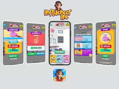 Influencer Inc Game minimal low poly icon ux ui design game vector logo illustration