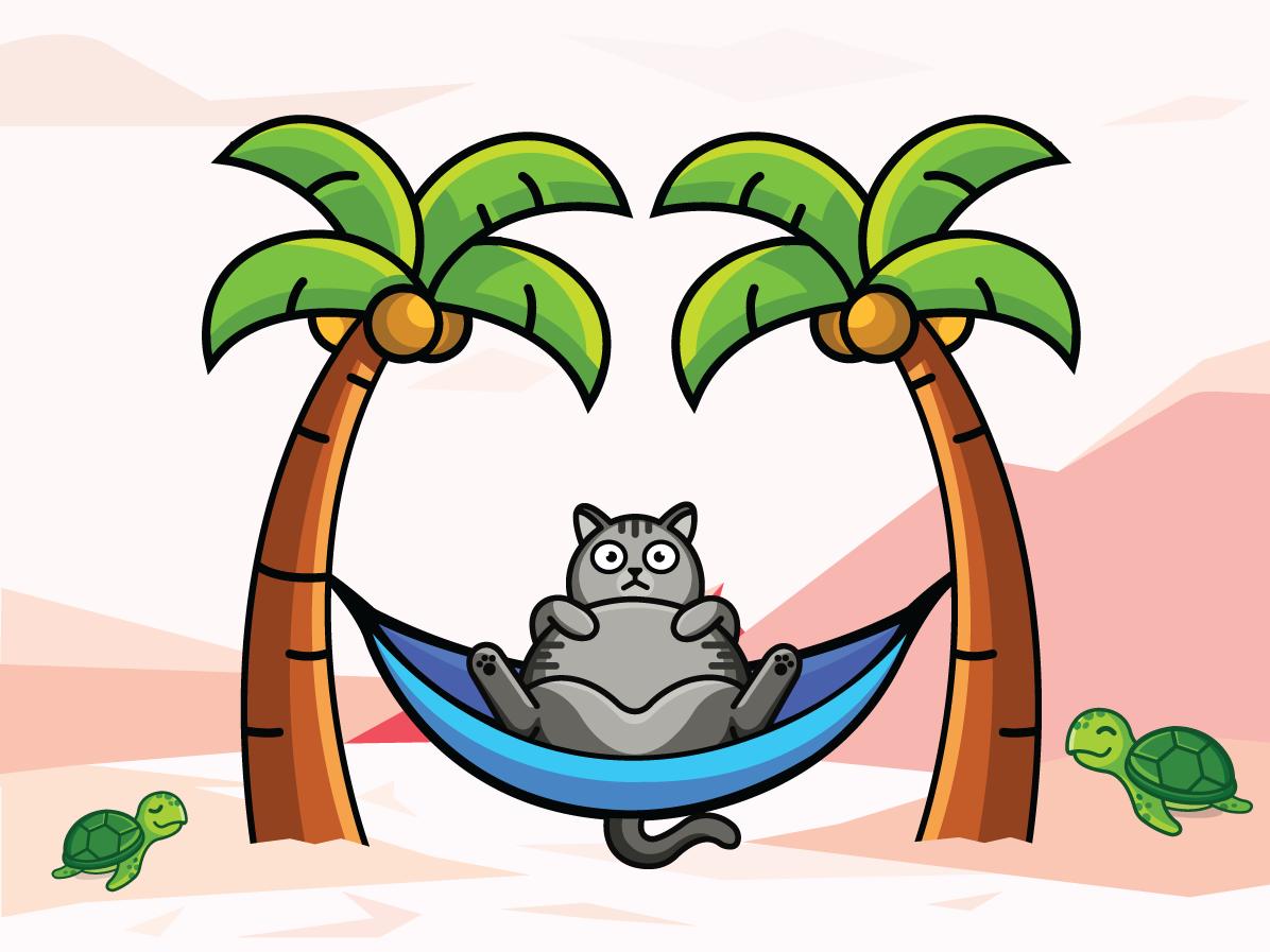 This cat's name is Manşon beach palm turtle summer cat illustration illustration cat