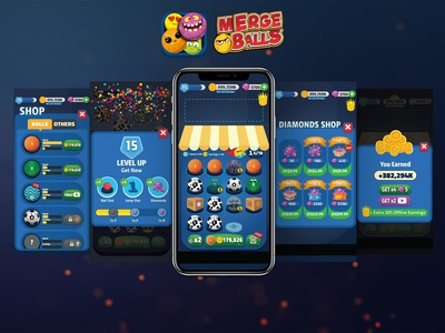 Merge Balls Game game app icon app logo typography design ux ui illustration game
