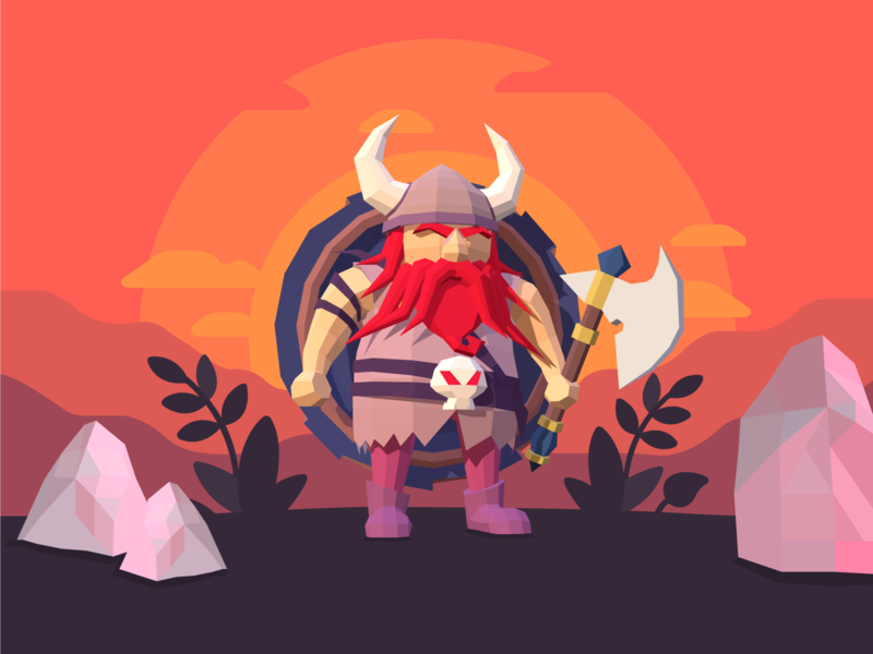 Low Poly Viking low poly viking illustration