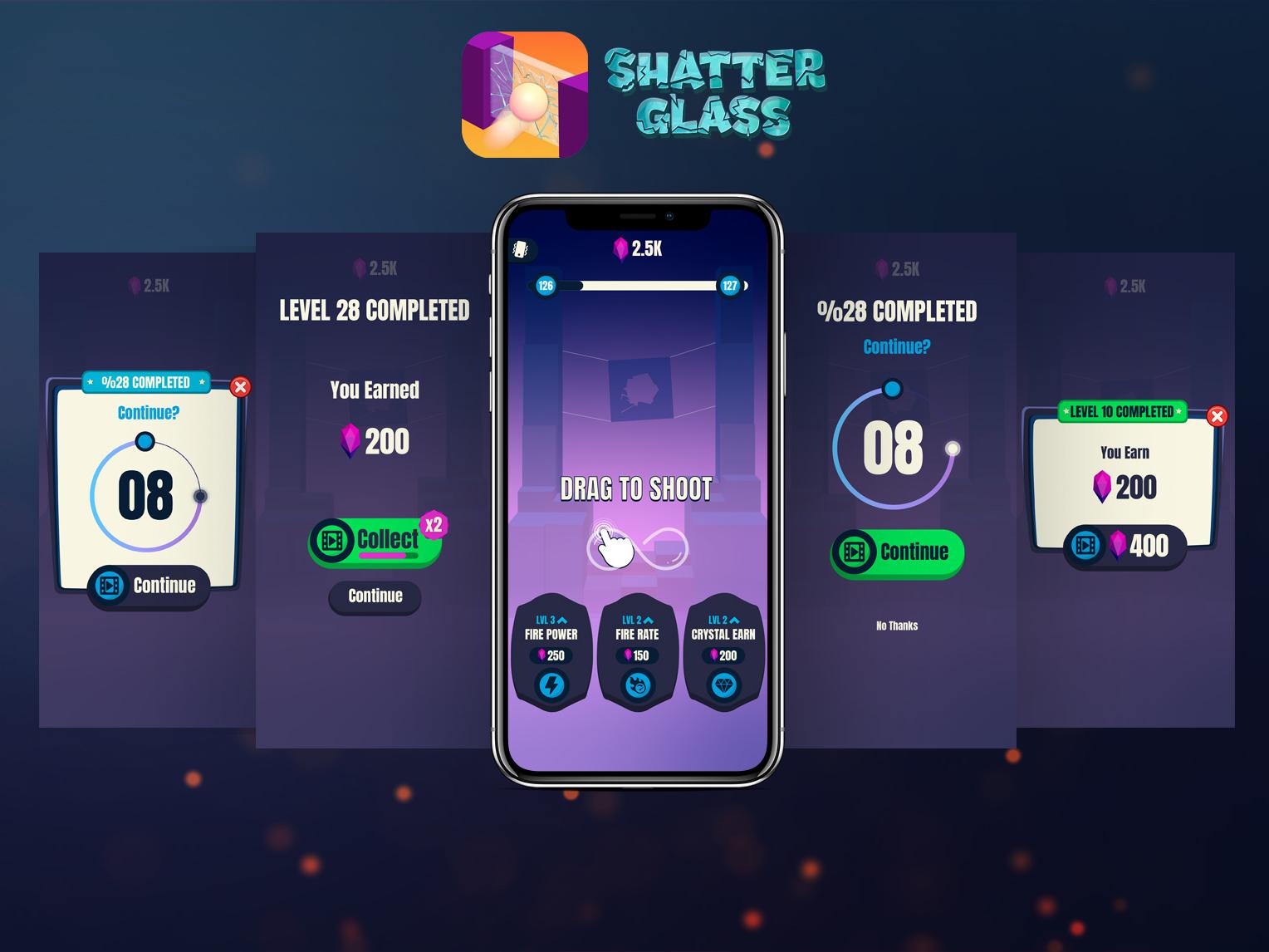 Shatter Glass UI game ux ui icon vector logo design illustration