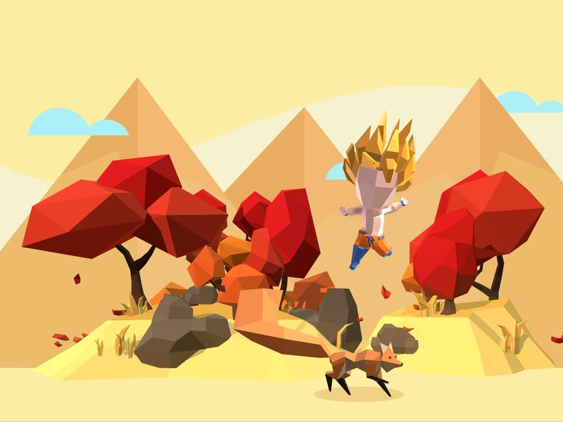 Dragon Ball and Fox autumn fox dragonball lowpoly game illustration vector