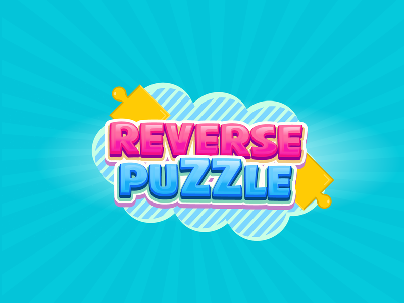 Reverse Puzzle Game Logo typography vector game logo illustration
