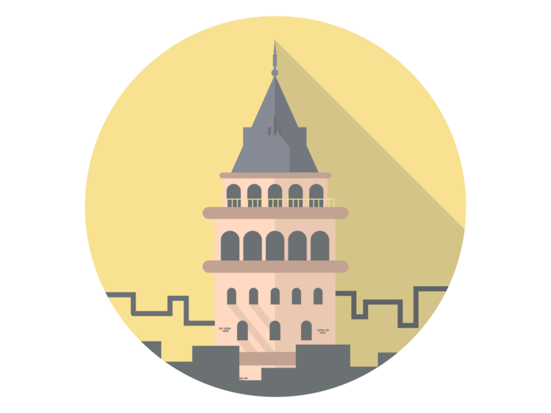 Galata Tower sticker galata tower vector illustration