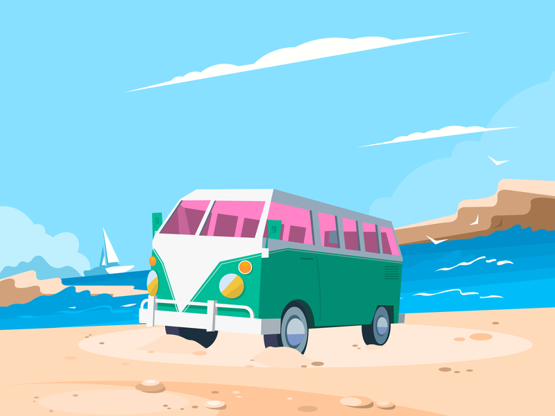Beach-Retro retro transporter volkswagen beach vector illustration