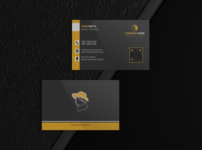 Business card meeting business image illustrator photoshop brand identity yellow cover design visitingcard logo mockup athor brand new unique simple black corporate business card