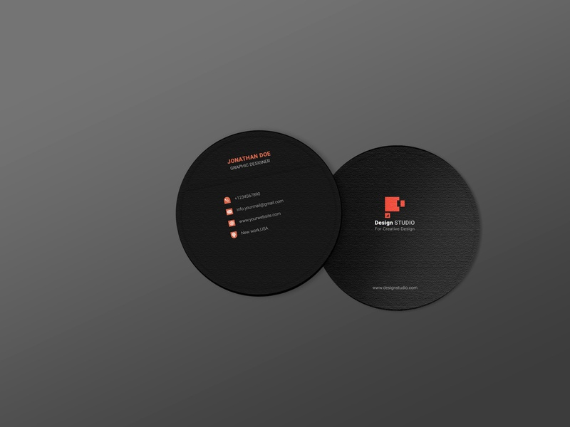 Circle Business Card cover image logo brand identity mockup design red business corporate print design simple black mordern new round business card