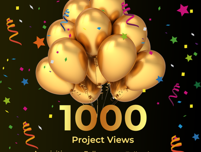 1000 Project views hello dribble celebration 1000 project views
