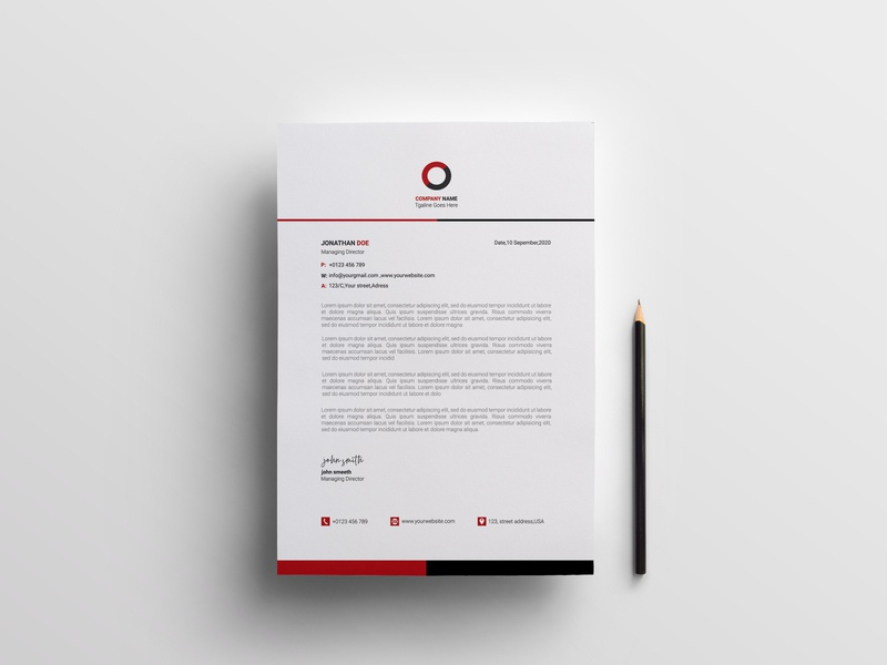 Corporate Letterhead Template stationary resume illustration ux ui corporate brand identity mockup image mordern new unique simple corporate letterhead design