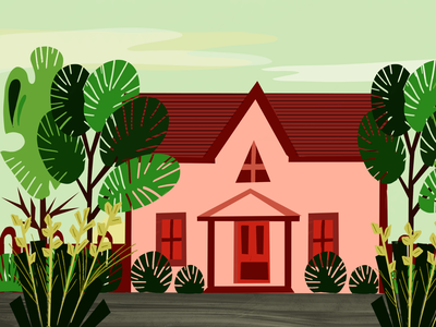 House illustration nature illustration nature art house flat illustration website design icon typography digital painting illustration portrait illustration digital art ux ui vector cartoon character