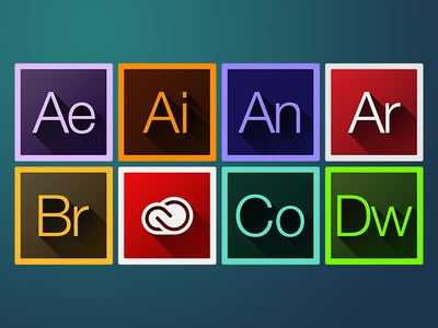 """Adobe CC """"Long Shadow"""" Iconset code after effects cloud adobe cc shadow flat icon illustrator edge animate"""