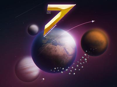 GDG7 {final} 7 earth gold logo music planets saga seven space stars galaxy photoshop