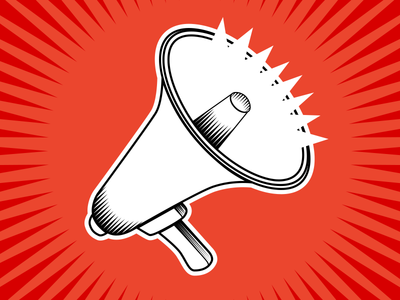 megaphone megaphone speaker loud icon white beige orange attention