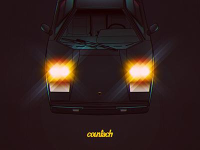 Countach countach lamborghini car retro automotive 80s dark drive gaming videogames games overcolored