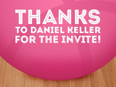 Dribbble thx dribbble thanks ball invite thank you pink first