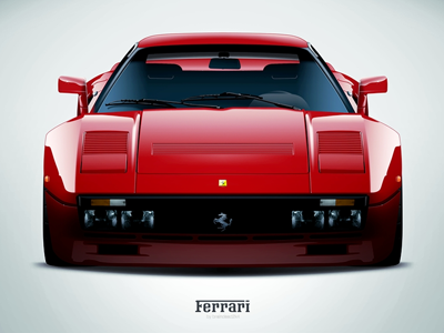 F288 GTO ferrari gto red car sportscar vector art