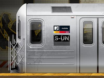 Subway Train pixelart detailed subway train mtv sunrise underground metal u-bahn newyork