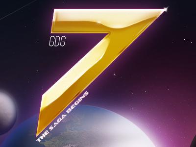 GDG7 logo seven 7 swiss music planet space earth gold stars saga gdg