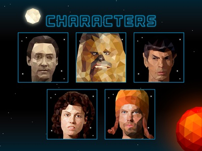 SITTKY Characters digital board game space game illustration jayne ripley spock chewie chewbacca data space low poly art