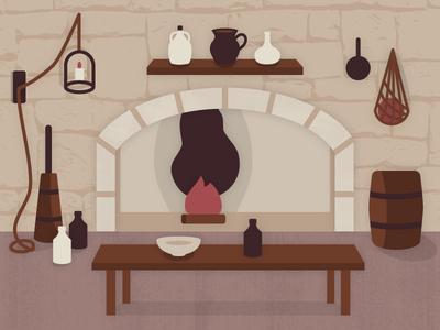 Kitchen game art illustration fire table castle kitchen