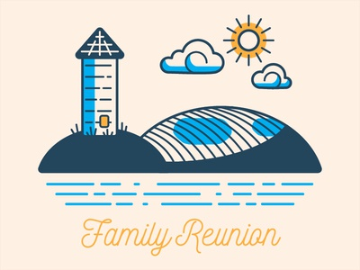 Family Reunion monoline reunion illustration