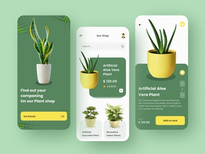 Plants Online Shop pot greens greenhouse online marketing uiux ui design plant app plant illustration buy best design ui online shop app
