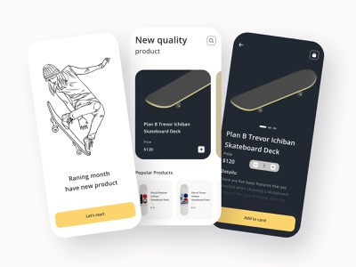 Skateboard App skateboard app ui uidesign online marketing illustration uiuxdesign delivery app uiux clean design best design ui design online shop app