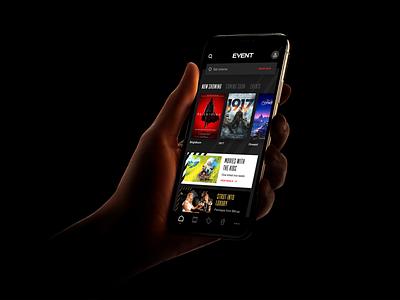 Cinema app dark mode dark ui movie ui  ux cinema movie app app ui animation clean logo ui design
