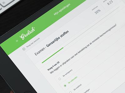 Online education exams online education ui ux question progress dutch clean responsive webdesign ipad