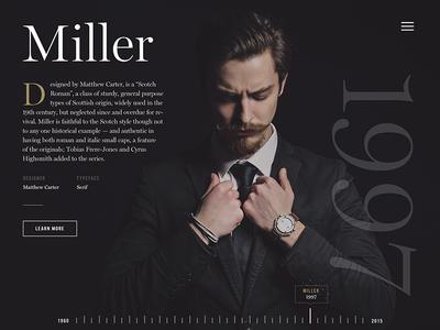 Timeline interactive online magazine navigation design history timeline miller typeface font layout