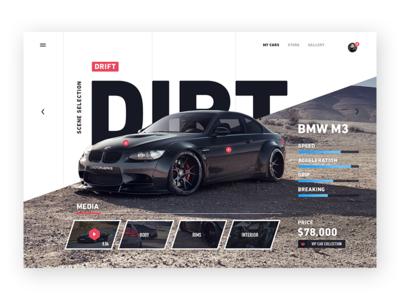Car concept website clean web collection animation navigation specs ui interface website car